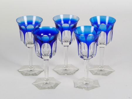 Five Moser Crysal Lady Hamilton Glasses - IB08348