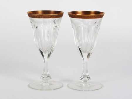 Pair of Moser Gilded Crystal Glasses - IB08354