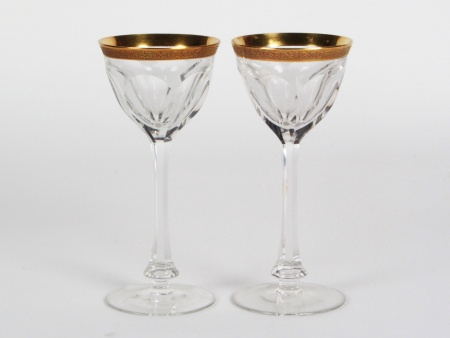 Pair of Gilded Crystal Moser Glasses - IB08355