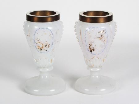 Pair of 19th Century Opaline Glass Vases - IB08462