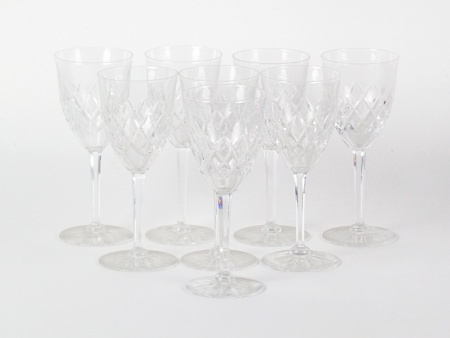 Set of 8 cut crystal red wine glasses - IB08553