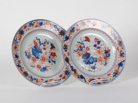 Pair of chinese Imari round plates - IB08580