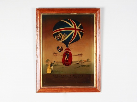 "Antique Reverse Glass Lithograph: ""Mr Lunardi"
