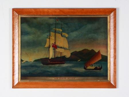 "Antique Reverse Glass: ""Sir David Scott"" - IB08626"