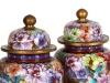Pair of Cloisonné Enamel Covered Jars - IB08679